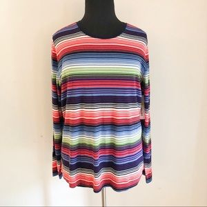 WESTBOUND striped plus size long sleeve t-shirt